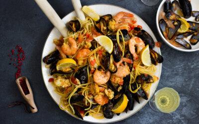 Seafood pasta met saffraan