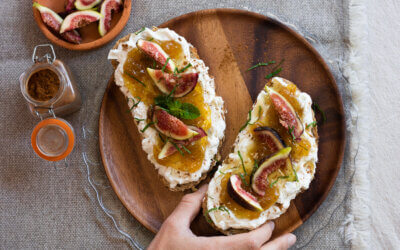 Tartine met gorgonzola-spread en vijgenjam